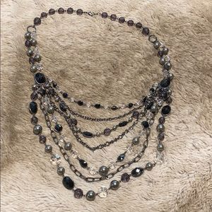 Black and silver tiered necklace